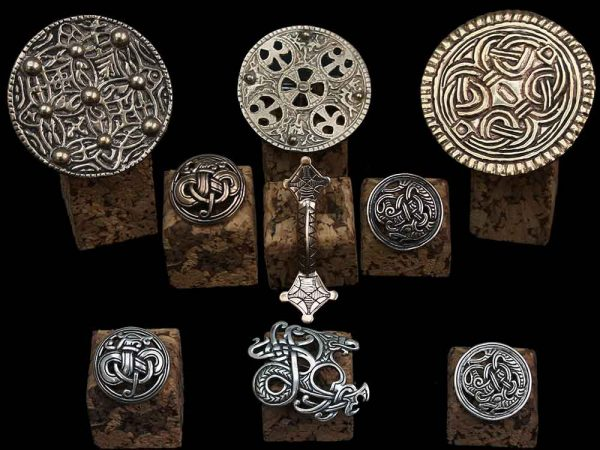 viking brooches in silver and bronze